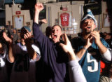 Denver, Colo., photo taken Feb. 6, 2005- Philadelphia Eagles fans, Sean Stevens (left) and...