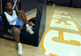 (Denver, Colo., February 21, 2005) Marcus Camby rests for a moment at the Nuggets first practice...