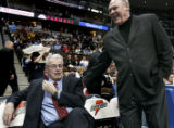 (DENVER, COLO.,  FEBRUARY 23, 2005) Former Nuggets head coach, Doug Moe, left, jokes around with...