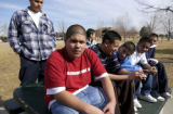 (DENVER, Colo, February 10, 2005) -  Montbello H.S. students (L-R front row) Jesus Zamora, Oscar...
