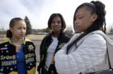 (DENVER, Colo, February 10, 2005) -  Montbello H.S. students (L-R) Keena Pleasant, April Hem and...
