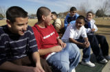 (DENVER, Colo, February 10, 2005) -  Montbello H.S. students (L-R) Oscar Holquin, Jesus...
