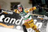 (BORMIO, Italy - Shot 2/12/2005) Markus Larsson (#12) of Sweden reacts after a good second run in...
