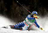 (BORMIO, Italy - Shot 2/13/2005) Italian skiier Chiara Costazza falls while trying to make it past...