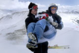 (LOVELAND SKI AREA, Colo, February 14, 2005) Robert Corcoran, from Summit Couty holds his new...