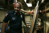 Denver Firestation Capt. Kevin Duncan inspects the basement of a restaurant for fire safety. ...