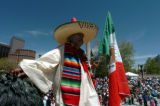 (DENVER COLORADO - May 2, 2004 )  Pedro Rodriguez, from Denver, joins in the celebration of the 17...