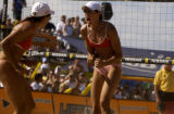 Colorado native, Elaine Youngs,right, of Durango,Colo., cheers on her teammate and former...