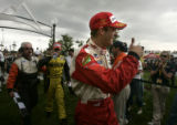 Sebastien Bourdais gives a thumbs up to the crowd after winning the Centrix Financial Grand Prix...