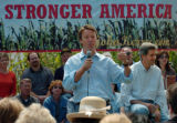 (8/06/2004, GOLDEN, CO)    John Edwards introduces John Kerry on The Nelson Farm in Smithville,...