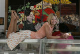 JPM0152 - April wears a selection of t-shirts and summery skirts at the Bonnie Brae Ice Cream...