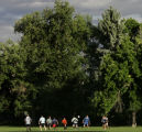 The Denver Barbarians RFC rugby team practices at Observatory Park in Denver on Tuesday evening,...