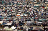 Thousands of Hurricane Katrina evacuees are housed on the main arena floor at the Astrodome in...