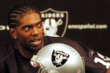 New Oakland Raiders wide receiver Randy Moss #18 speaks during a news conference March 2, 2005 in...