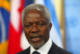 BUDGET 9/7/05 Kofi Annan, Secretary General of United Nations speaks to reporters after a report...