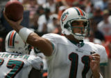 JPM995  Miami Dolphins Gus Frerote, #11, in the first quarter at Dolphins Stadium in Miami  on...