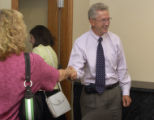 Stephen Jordan, new president of Metro College, smiles after meeting with facility members  on...