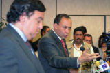 NMDP804 - Mexican state of Chihuahua Gov. Jose Reyes Baeza talks to the media during a news...