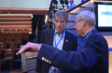 [(Boston, MA, Shot on: 7/29/04)]  Mark Udall(left) is given a podium walkthrough by Lim King...