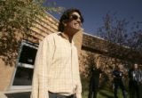 Doron Ben-Avi (cq), smiles while talking to the media outside the Estes Park Medical Center after...