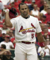 MOTG112 - St. Louis Cardinals Albert Pujols tosses his helmet after popping out to the catcher in...