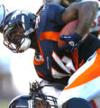 [(Denver, CO, Shot on: 11/7/04)]  Denver Broncos Reuben Droughns heads down field past Houston...