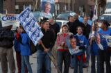 Denver, Colo photo taken October 29, 2004- Ken Salazar supporter, Mark Lane, finds himself in a...