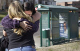 [Lakewood, CO - Shot on: 11/8/04] Michelle Ferons, daughter of Gary Johnson, is hugged by Heidi...