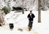 Denver, Co.,  November 1, 2004.   Todd Torrey of Denver ,age 36, took his dogs (l to r) Mia and...