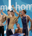 (ATHENS, GREECE, AUGUST 17, 2004)  United States 4x200 relay swimmer Peter Vanderkaay, Michael...