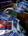 (DENVER, CO., NOVEMBER 3, 2004)  Democratic Party Volunteer, Cynthia Wells, of Denver, places...