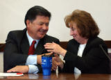 (DENVER, Colo., Oct. 25, 2004) Senator Abel Tapia (D) receives congradulations from Senator Alice...
