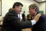 (DENVER, Colo., Oct. 25, 2004) U.S. Congressman Mark Udall,(right) receives a warm welcome from...