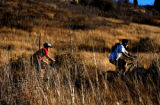 Golden, Colo., photo taken November 7, 2004- Trail Bikers start up the trail at the...