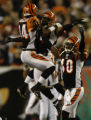(Cincinnati, Ohio, October 25, 2004) Bengals celebrate a interception in the 2ndGame action in the...