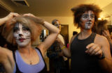 (Boulder, CO. 11/5/04) Stephen Bertles, right, as Mungojerrie, and Shelly Cox Robie, left, as...