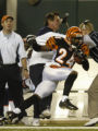 (Cincinnati, Ohio, October 25, 2004) Deltha O'Neal runs into Broncos Head Coach Mike Shanahan in...
