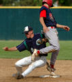 (DENVER, CO., MAY 21, 2004)  Heritage's #1, Austin Krum, right, slides safely into secondbase...