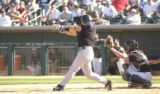 [(Tucson, AZ, Shot on: 3/2/05)] Colorado Rockies catcher Danny Ardoin(CQ-Danny Ardoin) lets his...