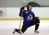 (CENTENNIAL, COLO., MAY 3, 2004)  Colorado Avalanche center, #21, Peter Forsberg stretches during...