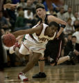 (THORNTON, COLO.,  MARCH 3, 2005)  Smoky Hill's #4, Ryan Turk (cq Ryan Turk) left, dribbles past...