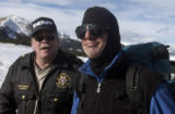 Guanella Pass, Colo.-February 21-2005)- Steven Brodsky (right)walks with Lt. Rick Albers of the...