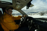 (ASPEN, Colo., March 8, 2005)  Tom Dalessandri (cq) takes the Land Rover through the one mile...