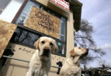 (DENVER, Colo., February 23, 2005) Harley, left, and Bailey are the only customers outside the...