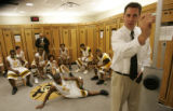 (Boulder shot on 3/10/05) (4A) Thomas Jeferson High School's head coach Grant Laman instructs the...