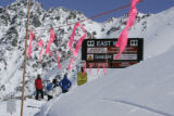 (ABASIN, Summit County Colo, February 24, 2005) - Skiiers access the East Wall  at A-Basin...