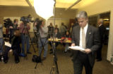 Denver, Colo.-February 24,2005- Denver District Attorney Mitch Morrissey enters a press conference...