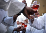 02/24/2005 Denver, Colorado-Metro area chefs gather for a portrait in their dress whites to...