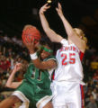 Ft. Collins, Colo., photo taken March 11, 2005- Bishop Machebeuf player Cheri Palmer (right-#11)...