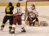(DENVER, COLO.,  MARCH 4, 2005)   University of Denver Pioneers goalie #29, Peter Mannino (cq...